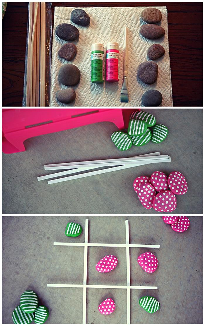 peindre des galets pions pour jouer au morpion, fabriquer un jeu de tic-tac-toe avec galets et grille en bâtonnets de bois