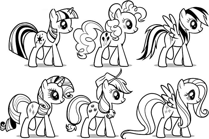 image a colorier avec les personnages préférés de my little pony, activité de coloriage licorne pour enfants