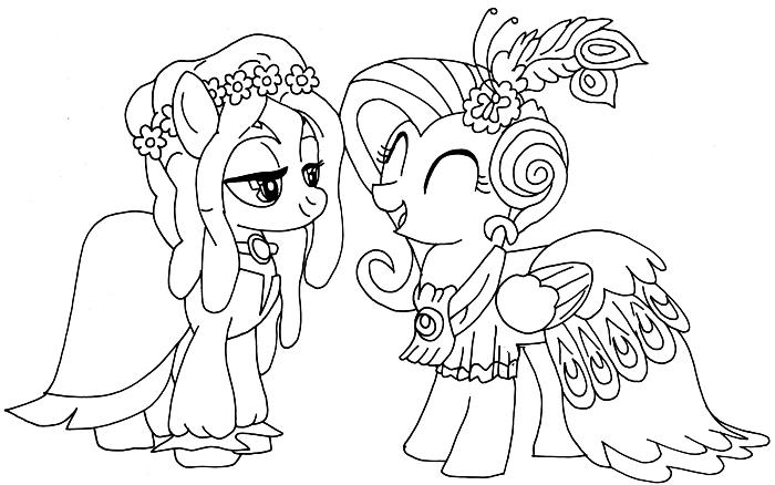 coloriage en ligne sur le thème my little pony, image à imprimer et à colorier avec deux petites licornes