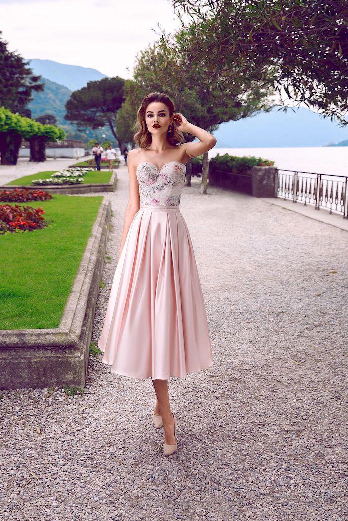 Robe bustier rose, magnifique tenue élégance, moderne robe femme habillée, robe champetre chic