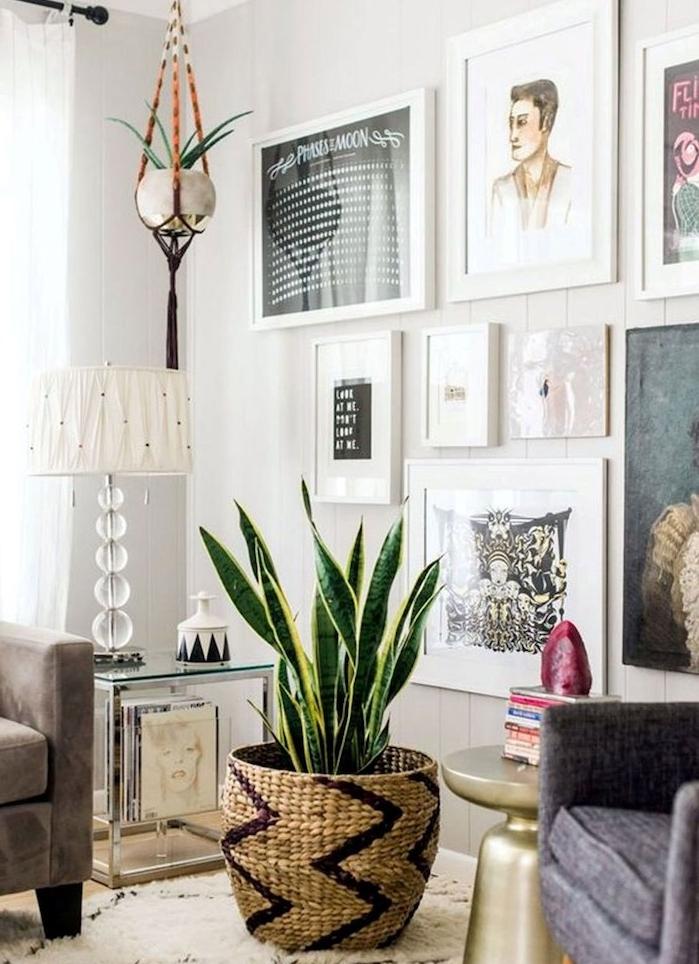 mur de cadres artistique pour decorer un salon, fauteuil gris, sansevière ou langue de belle mère dans cache pot tressé, tapis blanc berbere
