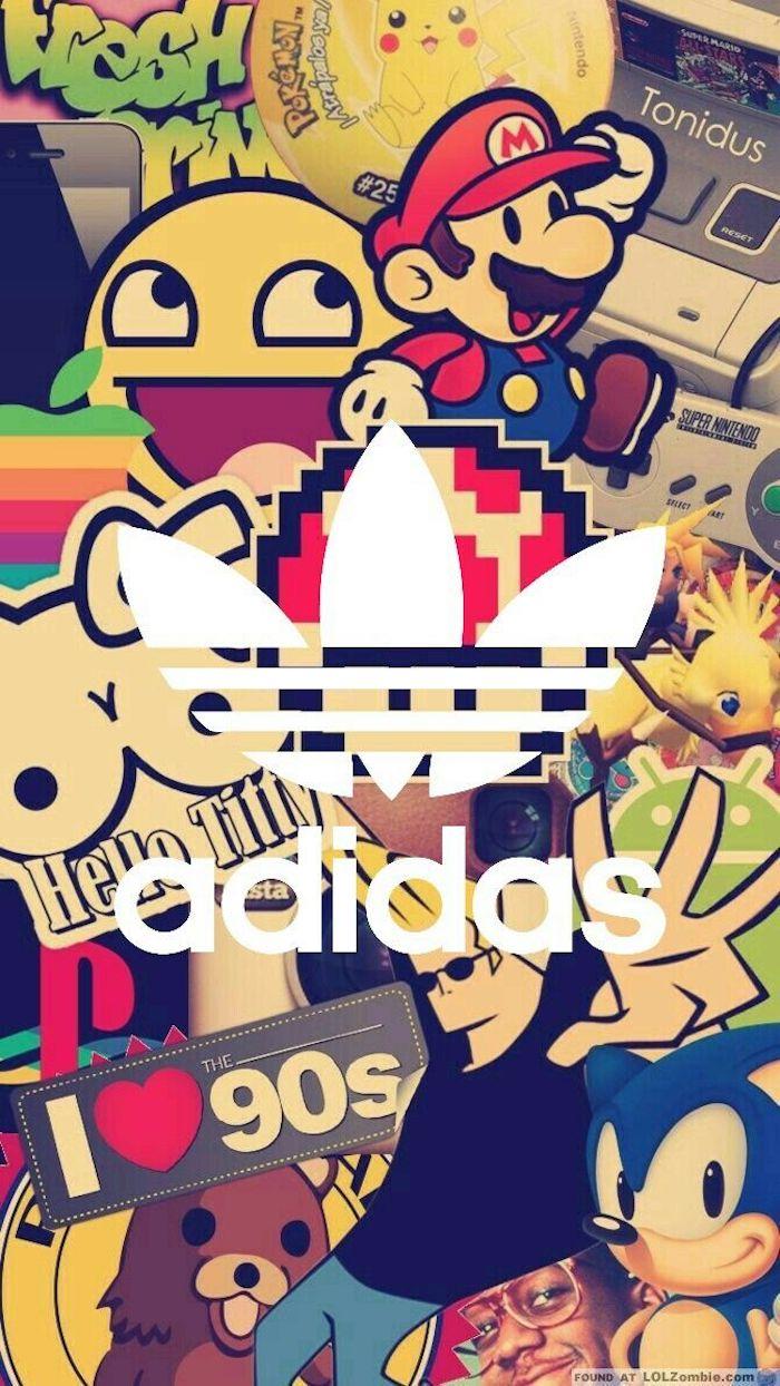 Collage moderne pour un fond d'écran swag, super mario, adidas, game boy, les années 90 stereotypes