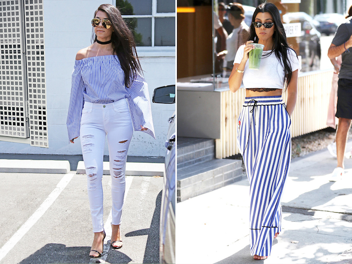 rTenue blanc et bleu parfait pour l'été, robe deux pièces d'été femme, jupe longue rayé et top court avec dentelle end dessous comment savoir comment s'habiller