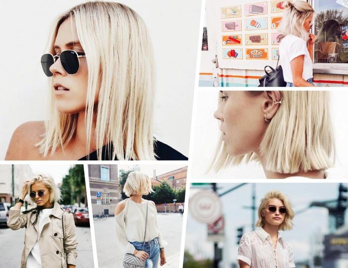 idée coupe de cheveux tendance avec carré court blond, coiffure pour cheveux en carré plongeant mi long mi attachés en chignon haut
