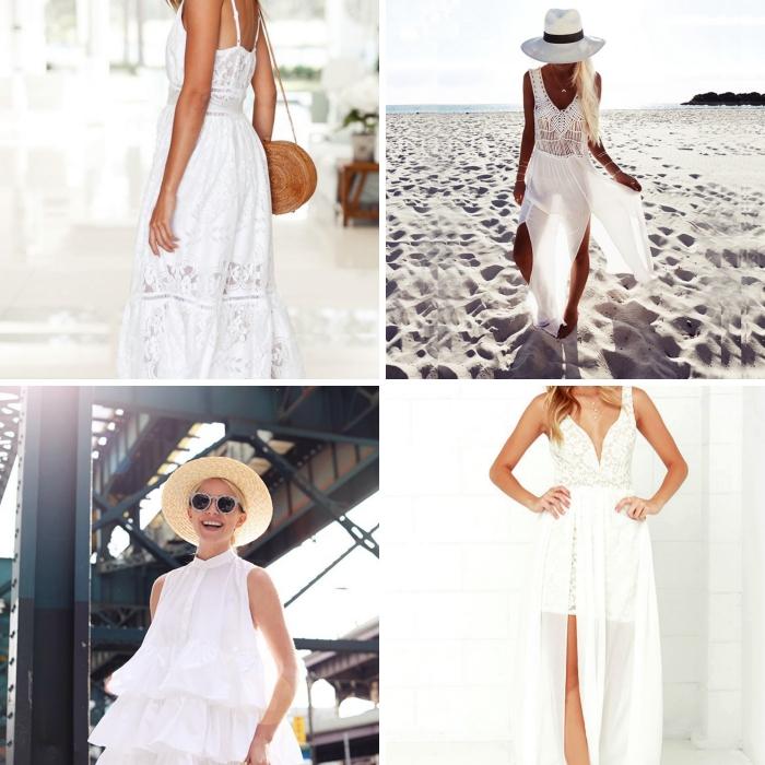 quelle robe de soirée blanche, exemple comment assortir une robe bohème avec capeline et collier multi-rangs