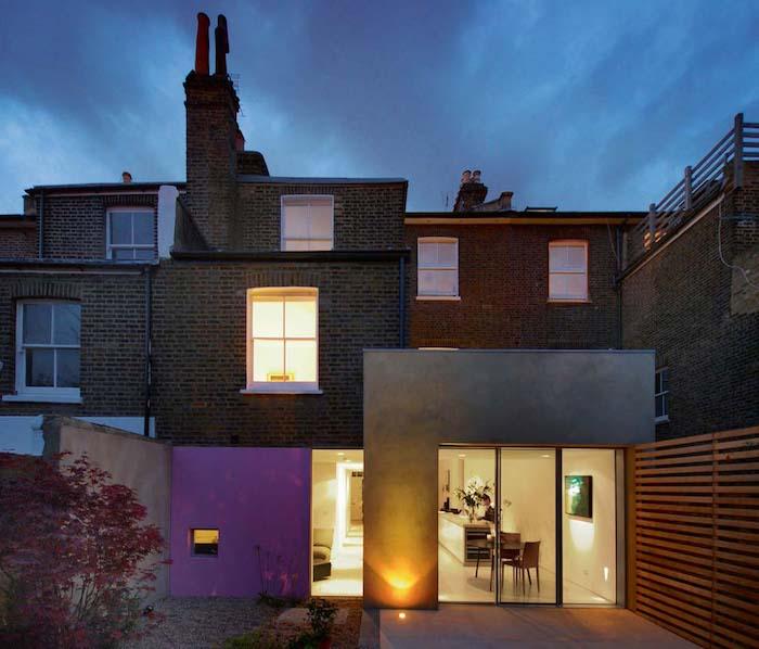 extension maison en avancée d une maison de briques anglaise, idee comment amenager cuisine en extension