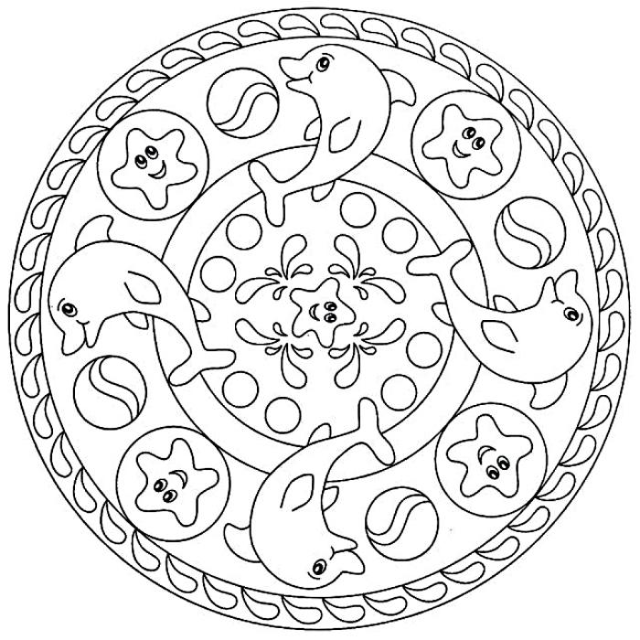 image a colorier anti-stress pour enfants, coloriage mandala pour enfants à dessins dauphins et étoiles de mer