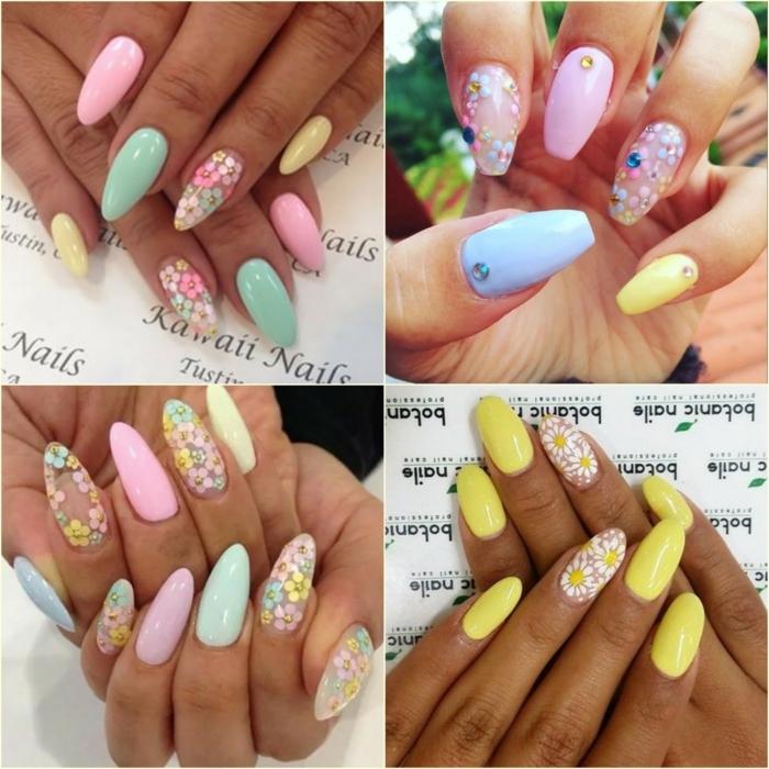 dessin ongle floral, ongle ete motifs floraux, paquerettes en jaune et blanc, ongles pointus et ballerines