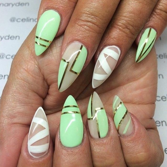 manucure en vert menth et blanc, ongles au strass, manucure en amandes, design des ongles graphiques