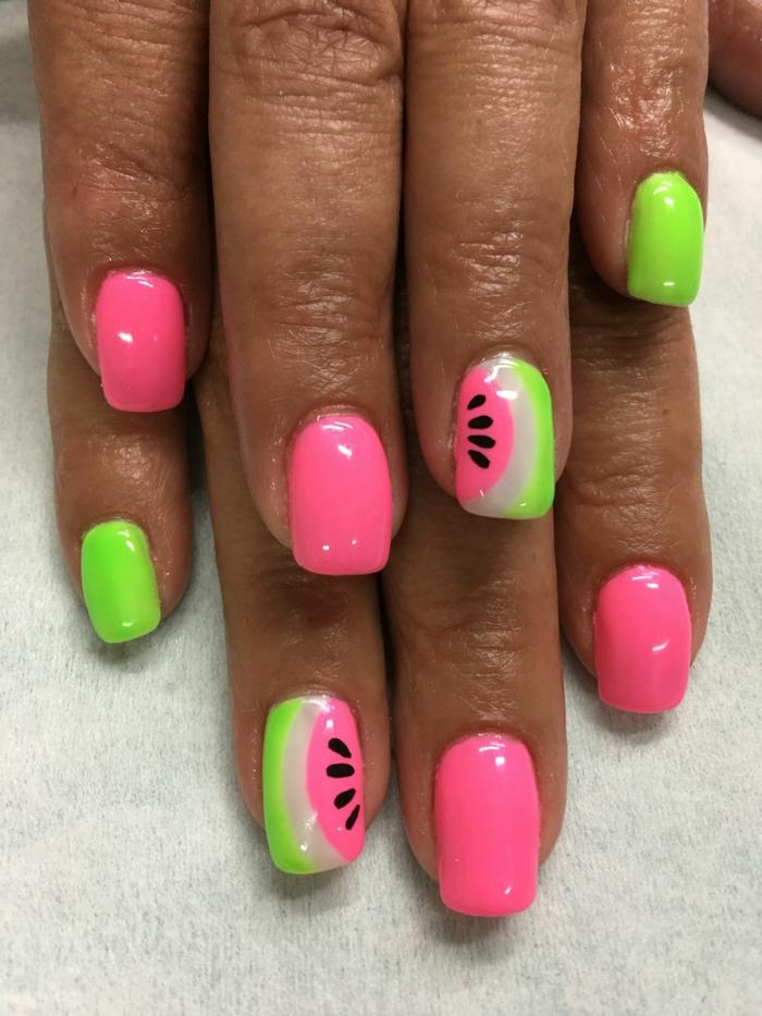 idée nail art été en rose et vert, melon d'eau, ongles carrés, motifs ongle en gel ete