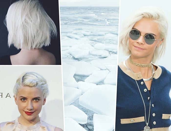 quelle couleur de cheveux blond pour yeux verts, idée coupe de cheveux courts tendance 2019, coupe carré blond polaire