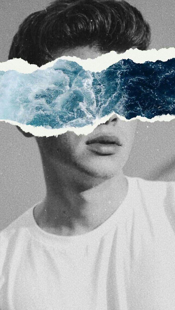 James Dean collage photo tenue swag, image de fille, la beauté du monde t shirt blanche et veste cuir