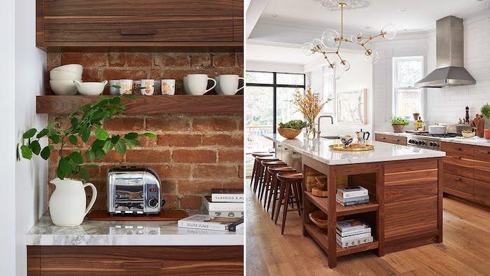Bois sur briques décoratives, étagères de rangement, deco vintage cuisine, maison de beauté, cuisine vintage cool