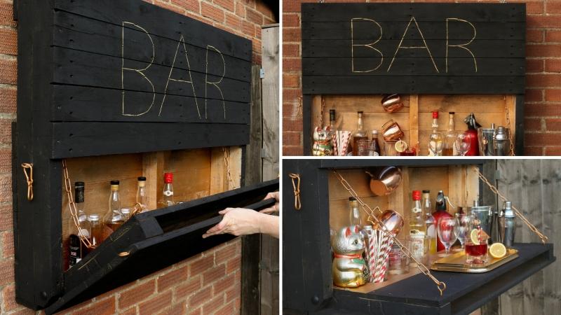 meuble en palette bricolage facile bar suspendu bois jardin