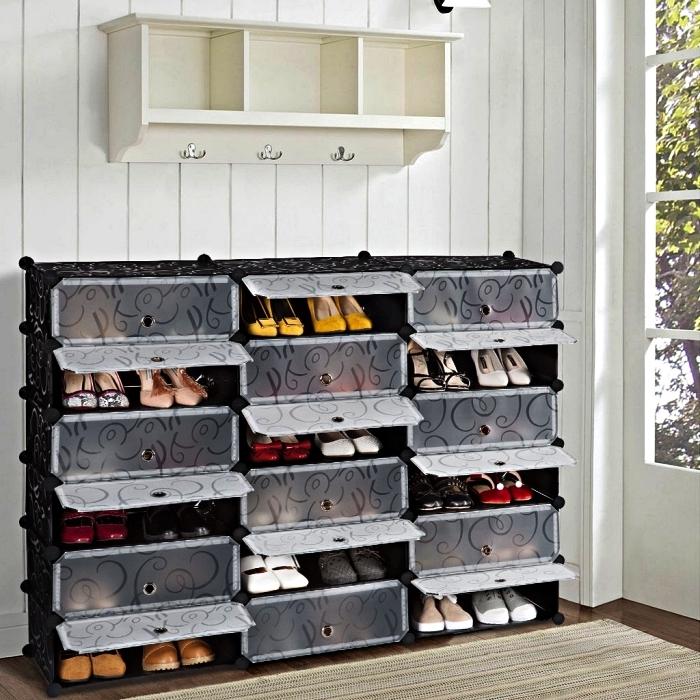 meuble d'entrée modulable spécial chaussures, meuble a chaussure modulable à casiers tiroirs
