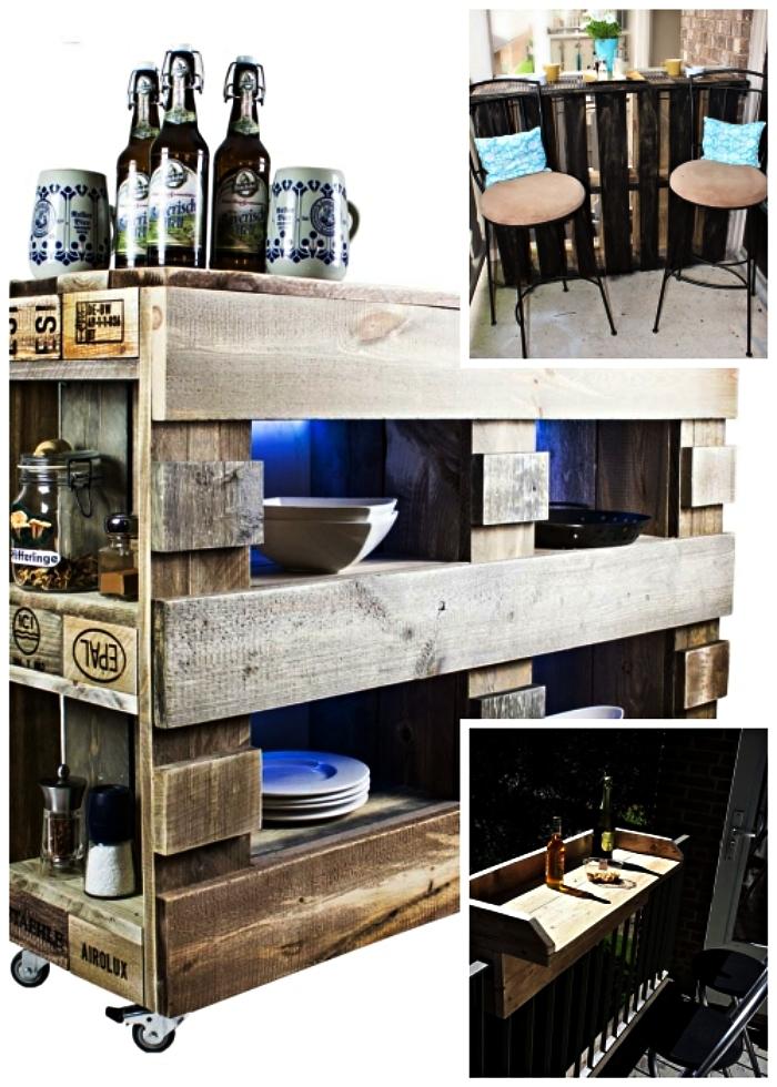 fabriquer meuble avec palettes pour un petit jardin ou terrasse, bar à boissons en palettes pour un petit balcon