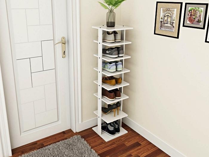 meuble porte chaussures gain-de-place à plusieurs niveaux, idée de meuble d'entrée fonctionnel pour ranger ses chaussures