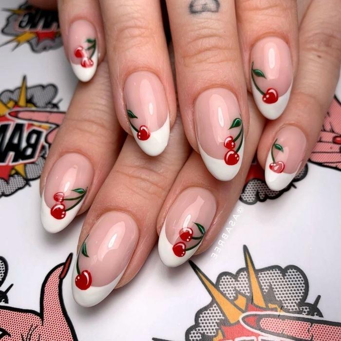 ongles ovales, motifs cerises, manucure douce, cerises, tatouage coeur, manucure fruitée