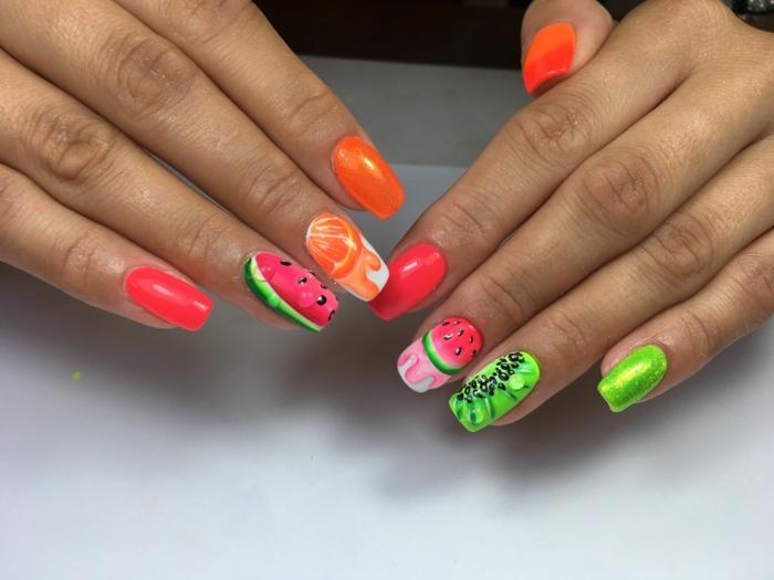 manucure melon d eau, orange, kiwis, ongles décorés aux couleurs néon, ongles ballerines