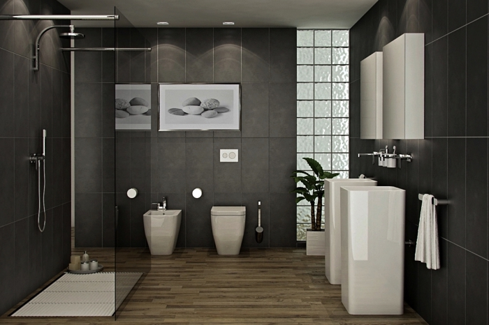 décoration salle de bain grise avec cabine de douche et double vasque, idée salle de bain aux murs gris et plancher bois