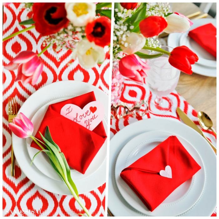 chemin de table en rouge et blanc, assiettes blanches, serviettes en forme d'enveloppe, bouquet de tulipes, idee deco table