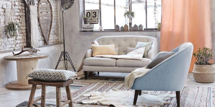 Chic salon avec détails ethniques, deco boheme, tapis berbere, deco ethnique, cool idée décoration