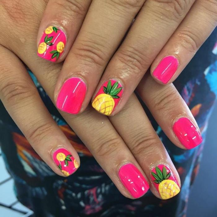 ongles courts, ananas, manucure rose, idée nail art motifs frais d été, ongle en gel ete