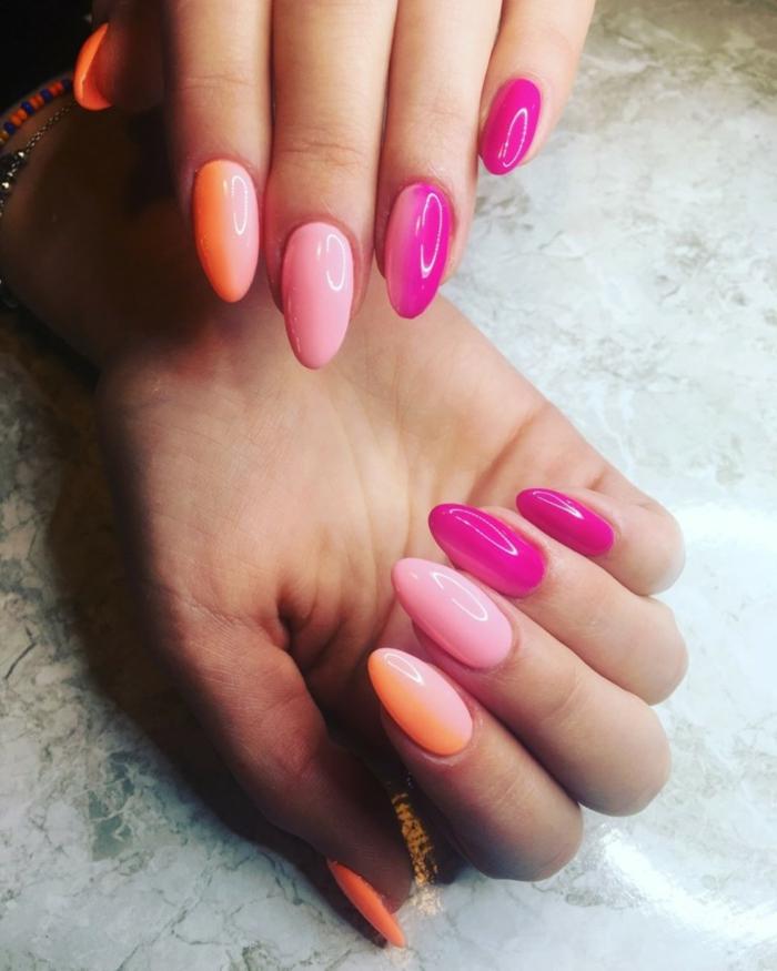 ongle en gel ete, manucure orange, rose et lilas, ongles en amande, idée déco ongles