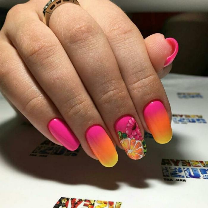 ongles en couleurs vives, bague, fruits, ongles en dégradé, ongles longs, adhésifs ongles