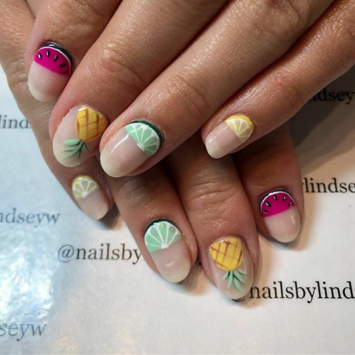 ongles fruités, kiwis, ananas, melon d eau, ongles ovales, ongle en gel été, joli modele nail art