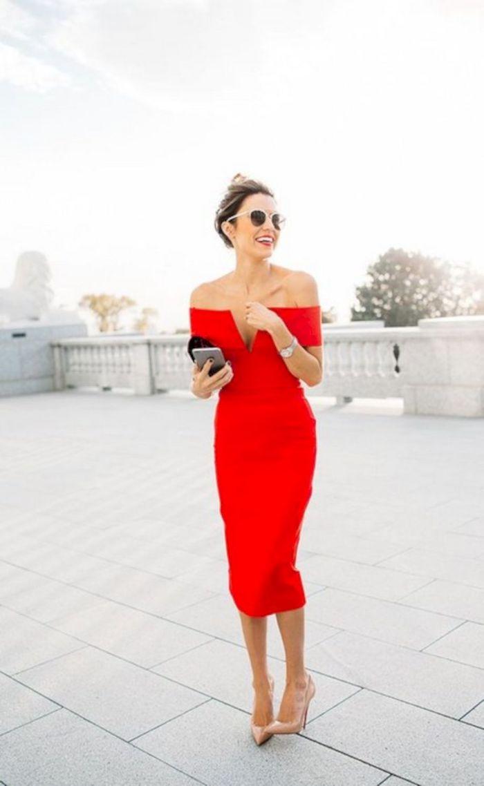 Robe rouge élégante, robe invitée mariage, robe de cocktail pour mariage chic
