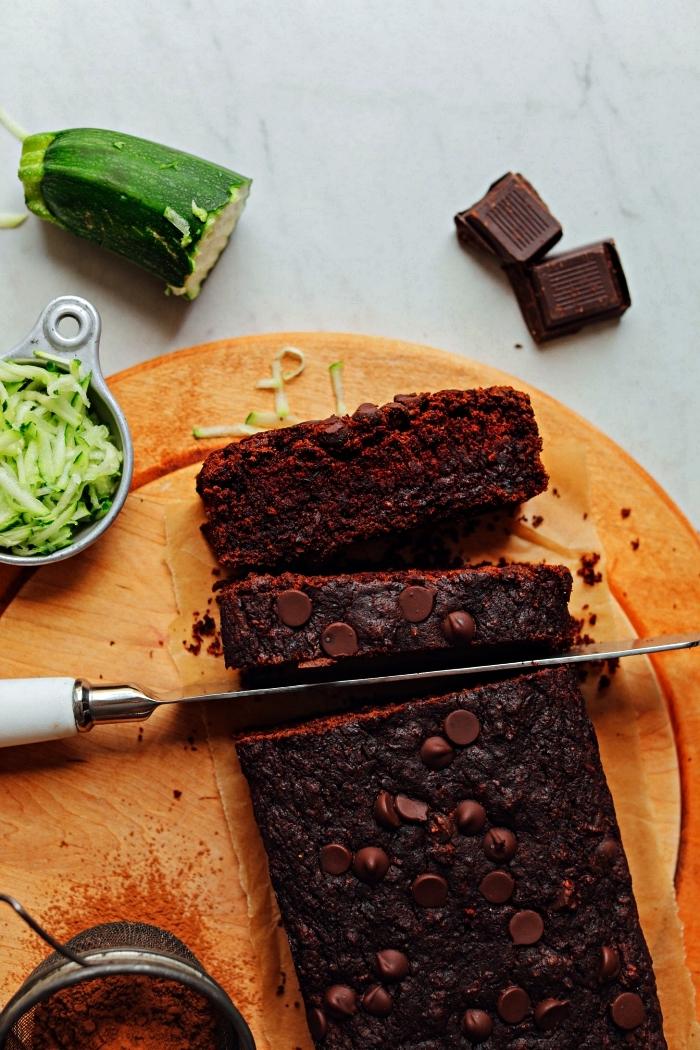 pain de courgettes au chocolat noir, recette dessert vegan, gâteau au chocolat vegan et healthy