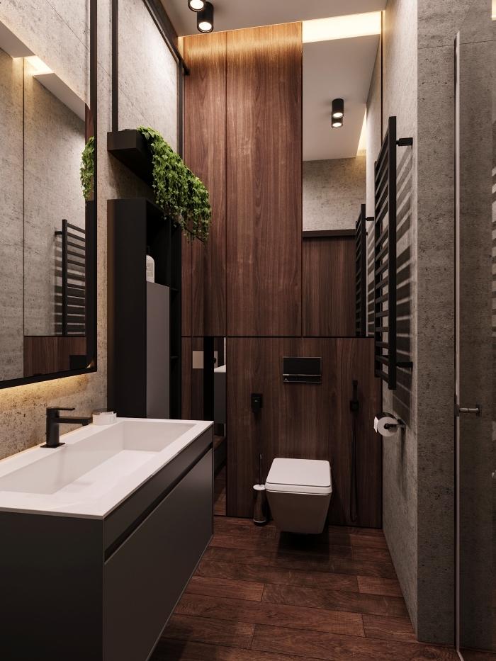 agencement salle de bain 6m2 avec meubles en bois, idée revêtement mural pour salle de bain avec dalles à imitation pierre grise
