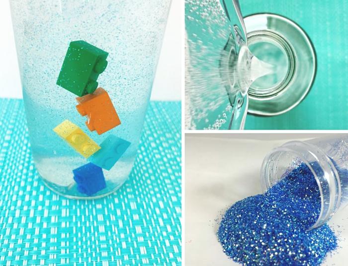 tutoriel facile pour réaliser une bouteille de retour au calme, avec quoi remplir une bouteille montessori eau et paillettes
