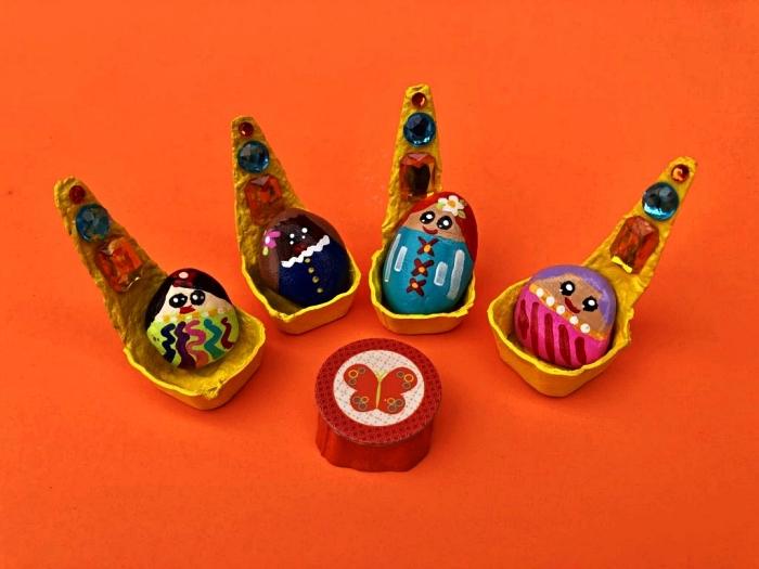 activité manuelle été pour occuper les enfants pendant les vacances, personnages amusants en galets repeints