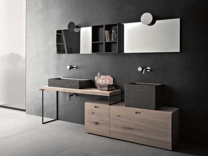 salle de bain tendance aux murs foncés en gris anthracite avec sol à dalles gris effet béton, idée meuble bicolore bois et noir mate