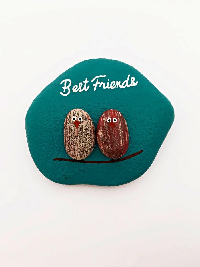 peindre des galets comme oiseaux, des galets décorés à offrir comme cadeau pour meilleur ami