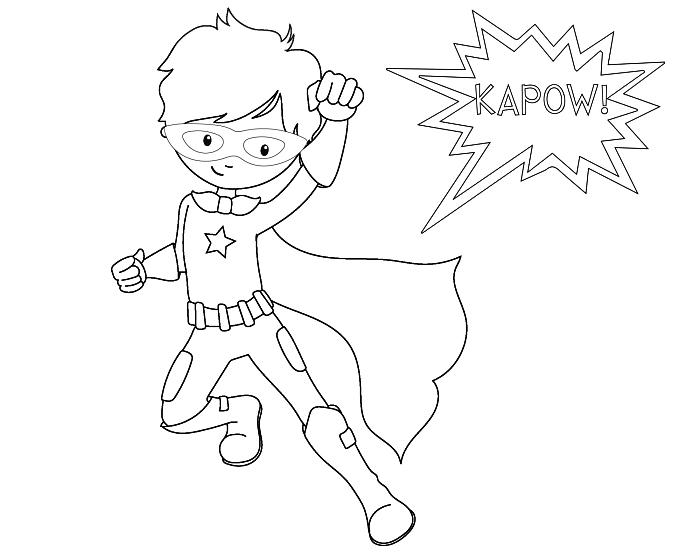 coloriage facile sur le thème super-héros, coloriage garçon super-héros en costume avec cape et une bulle de bande dessinée à colorier
