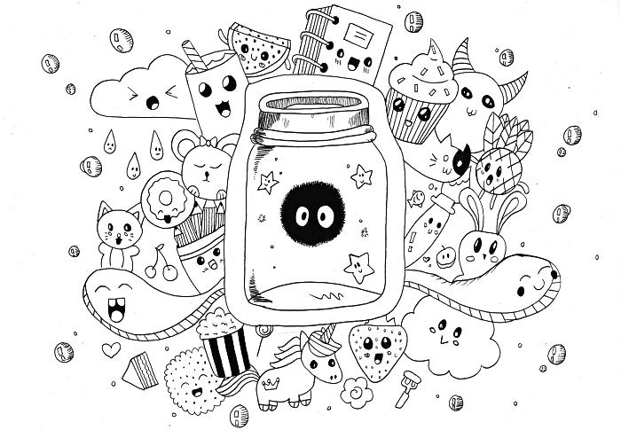 les coloriages préférés des enfants, dessin à colorier personnages kawaii amusant, coloriage gratuit l'univers kawaii