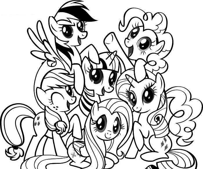 coloriage dessin animé my little pony, dessin à colorier avec les personnafes du mon petit poney, coloriage licorne pour enfants