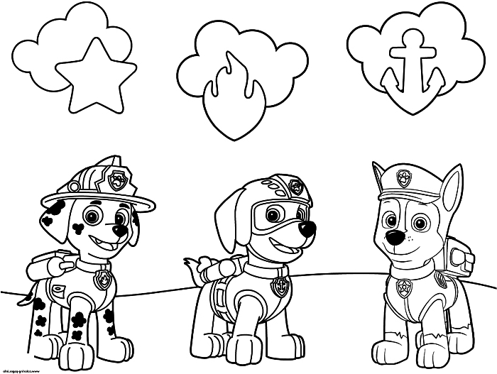 coloriage garçon avec les personnages de pat patrouille, dessin à colorier les chiens policiers de pat patrouille et leur badges
