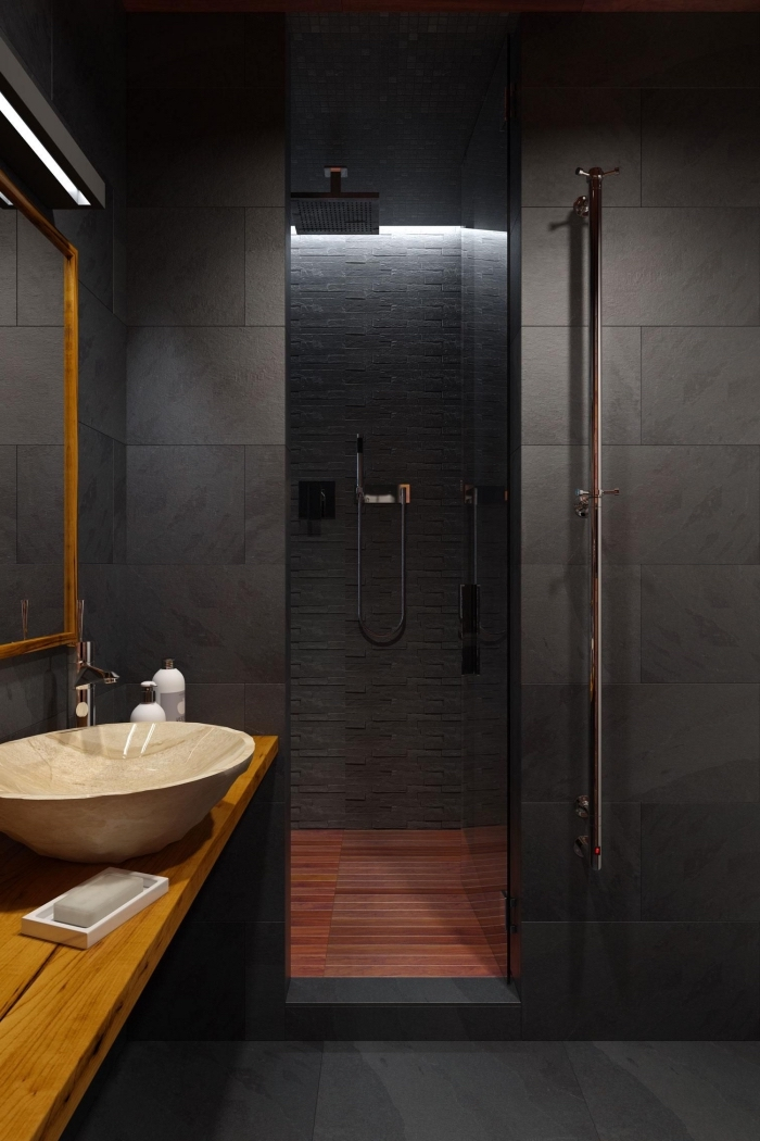 aménagement salle de bain petit espace avec cabine de douche, meuble salle de bain bois et noir, couleurs tendance intérieur contemporain