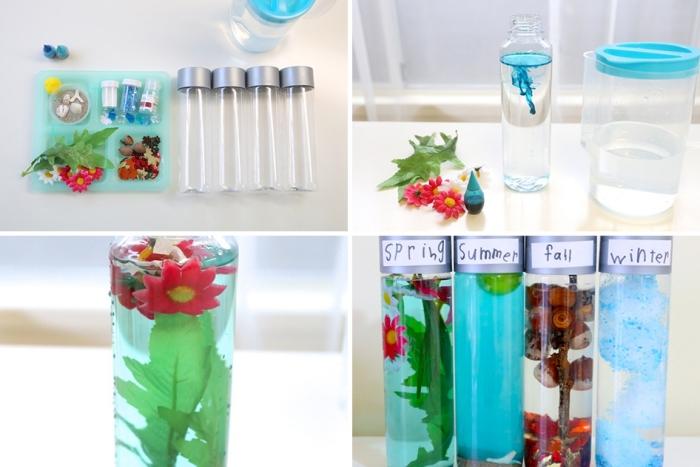 que faire en classe avec montessori, modèles de petites bouteilles en verre remplies de l'eau colorée et petites fleurs