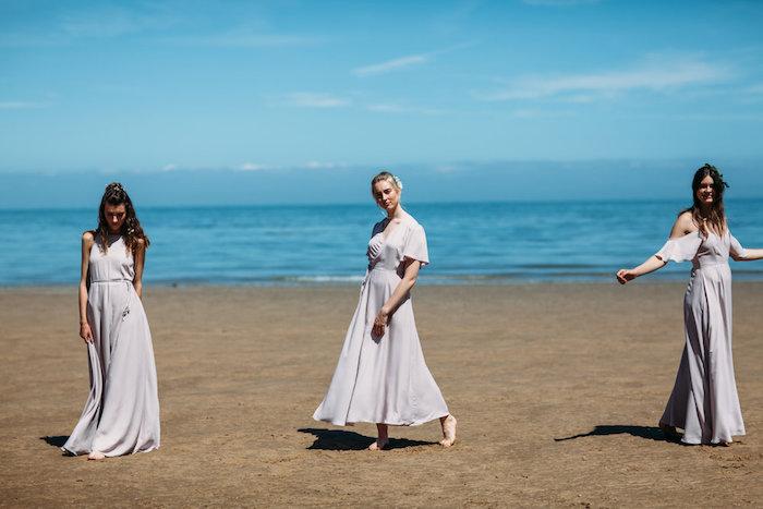 Longue robe bleu claire ou gris robe de soirée chic, femme robe de cocktail pour mariage chic