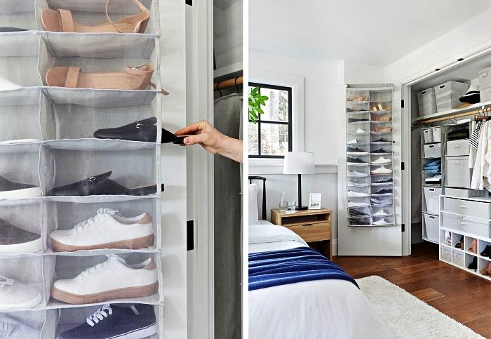 porte chaussures à casiers suspendu derrière la porte d'un placard encastré dans la chambre à coucher