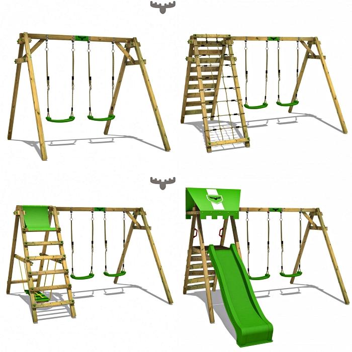 différents modèles de portique de jeu fatmoose avec double balançoire, toboggan ou plateforme d'escalade