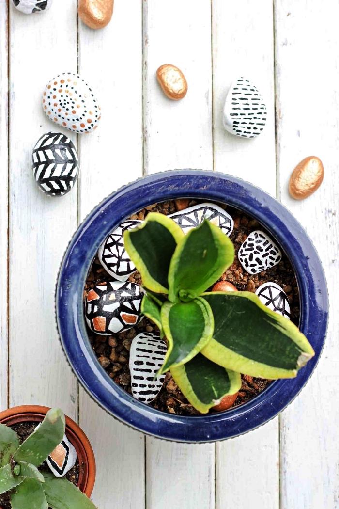 activité de peinture sur galet pour réaliser une jolie décoration pour vos pots de fleurs, idée deco galet graphique à mettre dans le pot de plante