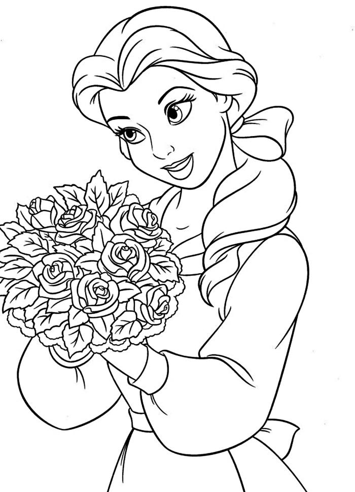 dessin a colorier disney la belle et la bête, coloriage belle tenant une bouquet de roses, coloriage des héros préférés des enfants