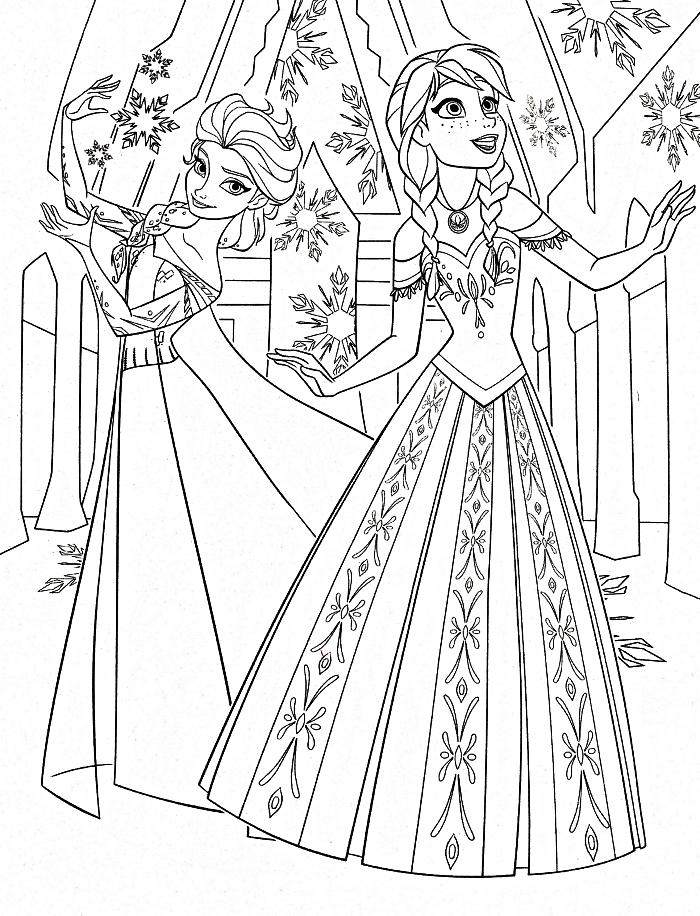 coloriage la reine des neiges pour enfants, dessin à imprimer et à colorier, coloriage anna et elsa