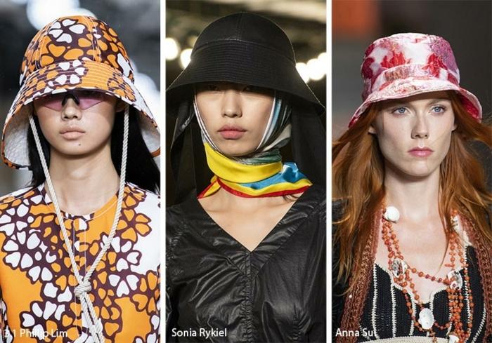 chapeau de seau, chapeau bucket, modèle de chapeau imprimés abstraits et motifs floraux, chapeau porté avec foulard